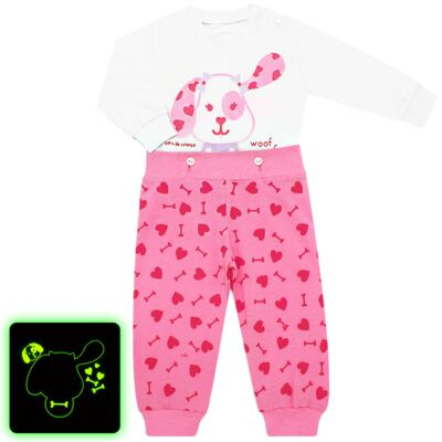 Imagem 1 do produto Pijama 4 botões que Brilha no Escuro Cachorrinha - Cara de Criança - 4L1671-CACHORRINHA 4L PJ 4 BOTOES-LONGO M/MALHA-M