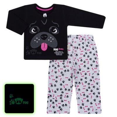 Imagem 1 do produto Pijama longo para bebe que Brilha no Escuro Black Pug - Cara de Criança - L2341 PUG FEM L PJ-LONGO M/MALHA -4