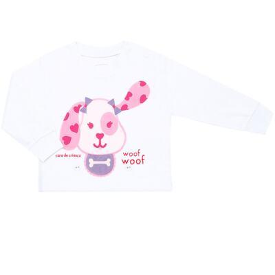 Imagem 2 do produto Pijama 4 botões que Brilha no Escuro Cachorrinha - Cara de Criança - 4L1671-CACHORRINHA 4L PJ 4 BOTOES-LONGO M/MALHA-P