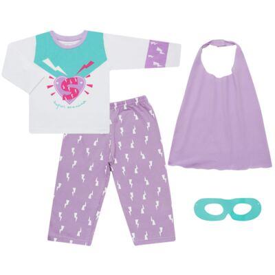 Imagem 1 do produto Pijama longo que Brilha no Escuro Super Menina - Cara de Criança - L1021 Pijama longo que Brilha no Escuro Super Menina-2