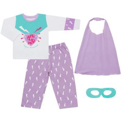 Imagem 1 do produto Pijama longo que Brilha no Escuro Super Menina - Cara de Criança - L1021 Pijama longo que Brilha no Escuro Super Menina-1