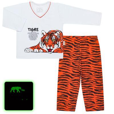 Imagem 1 do produto Pijama longo que Brilha no escuro Tigre - Cara de Criança - L2357 TIGRE L PJ-LONGO M/MALHA -4