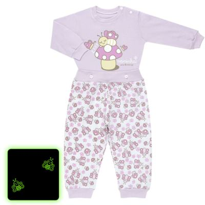 Imagem 1 do produto Pijama 4 botões que Brilha no Escuro Butterfly - Cara de Criança - 4L1947 COGUMELO 4L PJ 4 BOTOES - LONGO M/MALHA -P