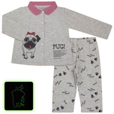 Imagem 1 do produto Pijama que Brilha no Escuro Pug - Cara de Criança - L0553 PIJAMA QUE BRILHA NO ESCURO PUG-2