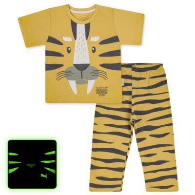 Imagem 1 do produto Pijama curto em malha que Brilha no Escuro Tigre - Cara de Criança - C2897 TIGRE C PJ MG CURTA C/CALCA M/MALHA-1
