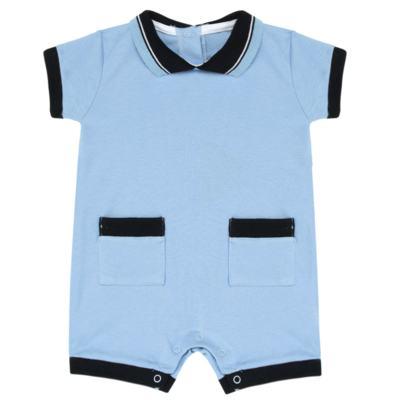 Imagem 1 do produto Macacão Polo para bebe em suedine Azul - Mini Sailor
