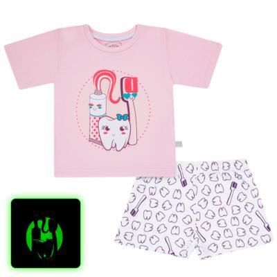 Imagem 1 do produto Pijama curto que Brilha no Escuro Dentinha - Cara de Criança - U2881 TIME SORRISO FEM U PIJAMA CURTO M/MALHA-6