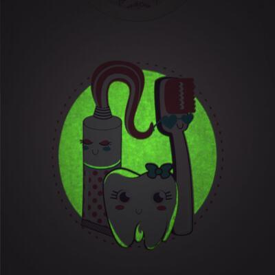 Imagem 3 do produto Pijama curto que Brilha no Escuro Dentinha - Cara de Criança - U2881 TIME SORRISO FEM U PIJAMA CURTO M/MALHA-3