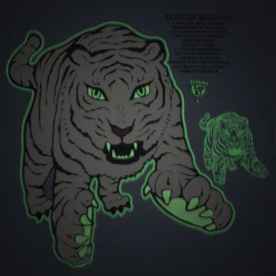 Imagem 3 do produto Pijama curto que Brilha no Escuro Tigre Branco - Cara de Criança - U2283 TIGRE BRANCO U PIJAMA CURTO M/MALHA-4