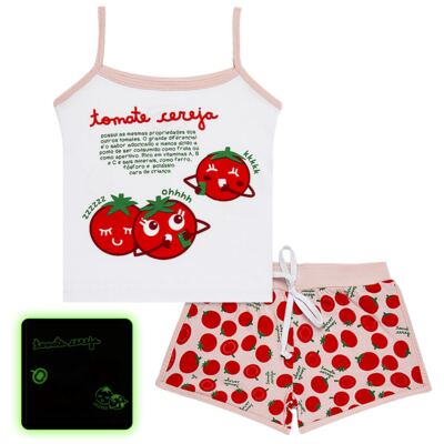 Imagem 1 do produto Pijama Regata que Brilha no Escuro Tomatinho Cereja - Cara de Criança - R2277 TOMATE CEREJA R PJ REGATA COTTON -2