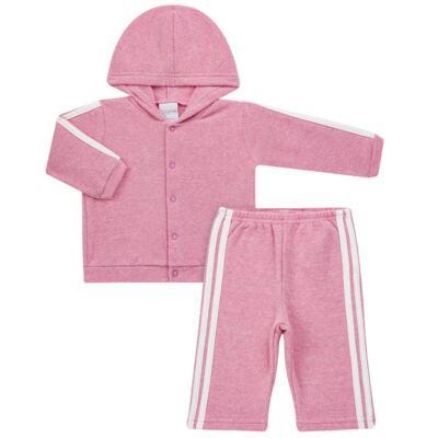 Imagem 1 do produto Casaco c/ capuz e Calça para bebe em soft Rosa - Tilly Baby - TB0172020.10 CONJ. CASACO COM CALÇA SOFT ROSA-G