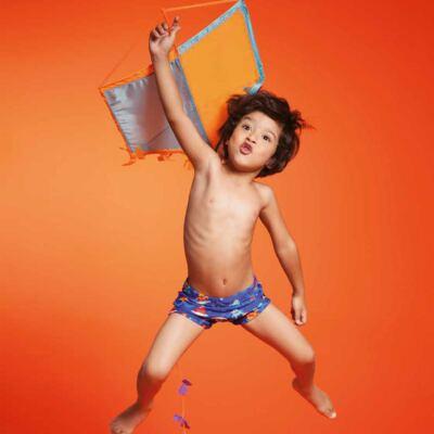 Imagem 2 do produto Sunga Boxer para bebe em Lycra Monstros do Surf - Puket - PK110400247.320 Sunga Boxer Kids Monstro EV Azul-4