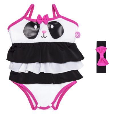Imagem 1 do produto Maiô + Faixa de cabelo em lycra Panda - Cara de Criança - MB1885 PANDINHA MAIO BEBE LYCRA -G