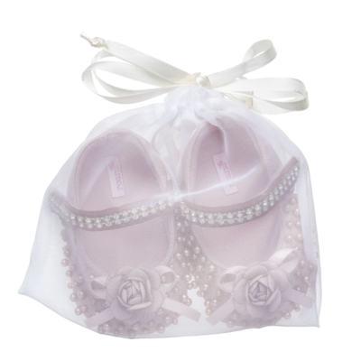 Imagem 3 do produto Sapatilha para bebe em cetim Pérolas & Flor Rosê - Roana - 20030020032 Sapatilha em Pérolas/Strass Rosa -P