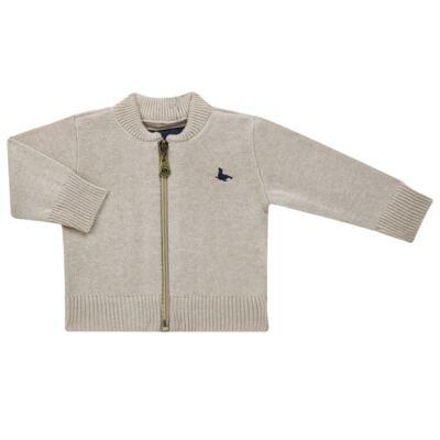 Imagem 1 do produto Casaquinho para bebe em tricot Caqui - Mini Sailor - 75494267 CASACO BASICO ZIPER TRICOT CAQUI-9-12