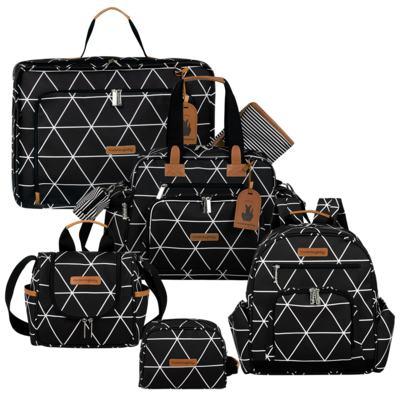Imagem 1 do produto Mala maternidade Vintage + Bolsa Everyday + Frasqueira térmica Emy + Mochila Noah + Necessaire Manhattan Preta - Masterbag