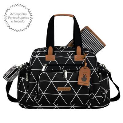 Imagem 3 do produto Mala maternidade Vintage + Bolsa Everyday + Frasqueira térmica Emy + Mochila Noah + Necessaire Manhattan Preta - Masterbag