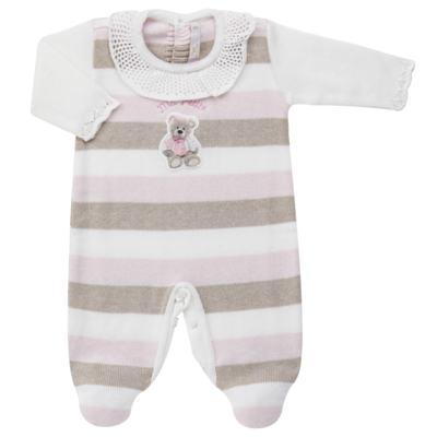 Imagem 1 do produto Macacão c/ golinha para bebe em tricot Ma Petite - Petit - 21874283 MACACAO C/GOLA BABADO TRICOT LISTRA ROSA -P