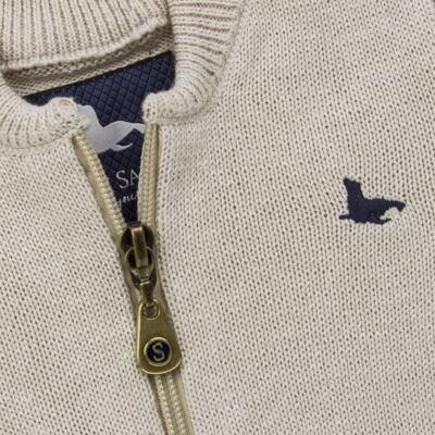 Imagem 2 do produto Casaquinho para bebe em tricot Caqui - Mini Sailor - 75494267 CASACO BASICO ZIPER TRICOT CAQUI-2