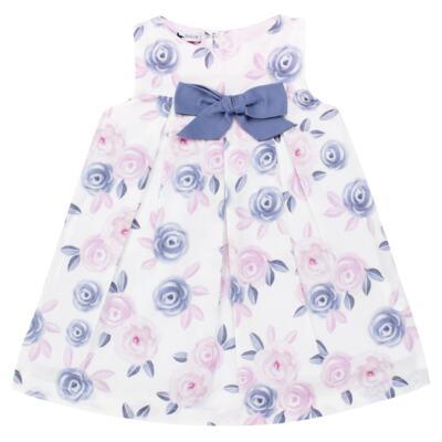 Imagem 2 do produto Vestido c/ Calcinha para bebe em tricoline Flourish - Mini Sailor - 14394440 VESTIDO RECORTE LACO TRICOLINE FLORAL ROSA-6-9