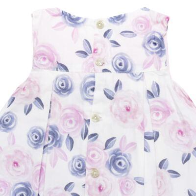 Imagem 3 do produto Vestido c/ Calcinha para bebe em tricoline Flourish - Mini Sailor - 14394440 VESTIDO RECORTE LACO TRICOLINE FLORAL ROSA-6-9