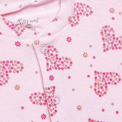 Imagem 2 do produto Macacão longo para bebe em malha Little Hearts - Tilly Baby - TB168702 MACACAO PIJAMA FEM PUNHO CORAÇÃO-P