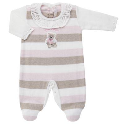 Imagem 1 do produto Macacão c/ golinha para bebe em tricot Ma Petite - Petit - 21874283 MACACAO C/GOLA BABADO TRICOT LISTRA ROSA -RN