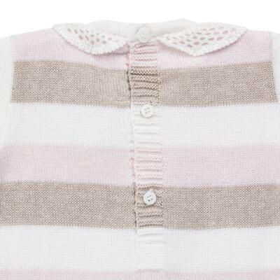 Imagem 3 do produto Macacão c/ golinha para bebe em tricot Ma Petite - Petit - 21874283 MACACAO C/GOLA BABADO TRICOT LISTRA ROSA -RN