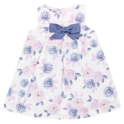 Imagem 2 do produto Vestido c/ Calcinha para bebe em tricoline Flourish - Mini Sailor - 14394440 VESTIDO RECORTE LACO TRICOLINE FLORAL ROSA-9-12