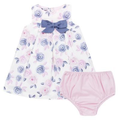 Imagem 1 do produto Vestido c/ Calcinha para bebe em tricoline Flourish - Mini Sailor - 14394440 VESTIDO RECORTE LACO TRICOLINE FLORAL ROSA-0-3