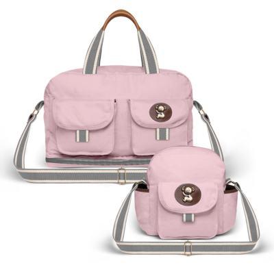 Imagem 1 do produto Bolsa Maternidade para bebe Ibiza + Frasqueira Térmica Toulon em sarja Adventure Rosa - Classic for Baby Bags