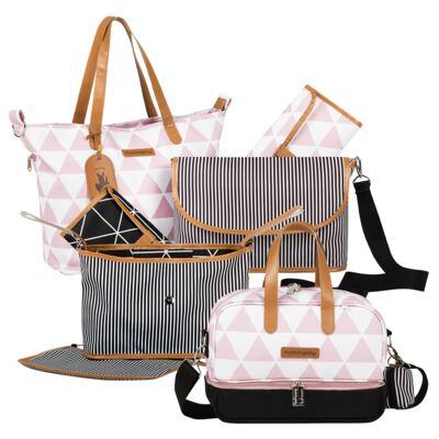 Imagem 1 do produto Bolsa 4 em 1 Sofia + Frasqueira térmica Vicky + Frasqueira Organizadora Manhattan Rosa - Masterbag
