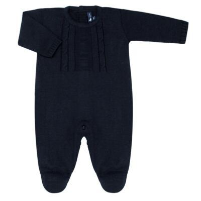 Imagem 1 do produto Macacão longo para bebe em tricot trançado Marinho - Mini Sailor - 21804262 Macacão Longo Recorte Trançado Tricot Marinho -0-3