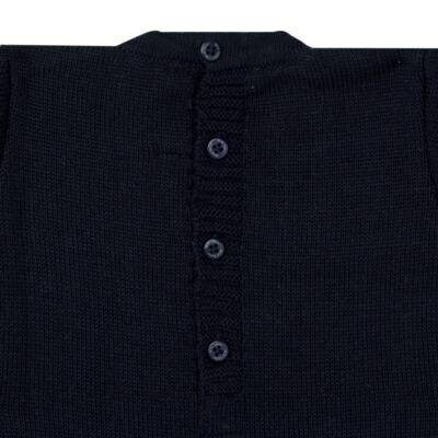 Imagem 2 do produto Macacão longo para bebe em tricot trançado Marinho - Mini Sailor - 21804262 Macacão Longo Recorte Trançado Tricot Marinho -0-3