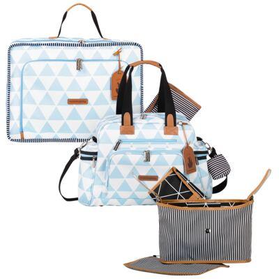 Imagem 1 do produto Mala maternidade Vintage + Bolsa Everyday + Frasqueira Organizadora Manhattan Azul - Masterbag
