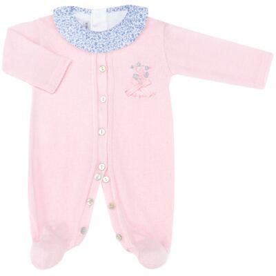 Imagem 1 do produto Macacão longo c/ Body regata para bebe em tricot Liberty - Mini Sailor - 17344441 Macacão Longo c/ Body Tricot Rosa-NB
