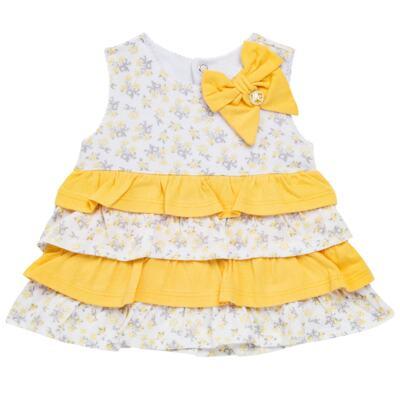 Imagem 2 do produto Vestido com Calcinha para bebe em malha Daisy - Mini & Classic - 1416657 VESTIDO C/BABADOS MALHA FLORAL AMARELO-M