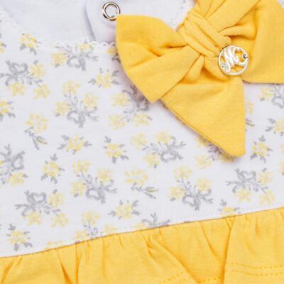 Imagem 3 do produto Vestido com Calcinha para bebe em malha Daisy - Mini & Classic - 1416657 VESTIDO C/BABADOS MALHA FLORAL AMARELO-M