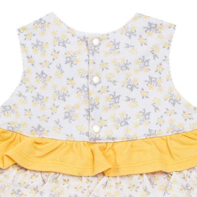 Imagem 4 do produto Vestido com Calcinha para bebe em malha Daisy - Mini & Classic - 1416657 VESTIDO C/BABADOS MALHA FLORAL AMARELO-M