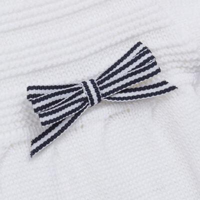 Imagem 2 do produto Macacão longo para bebe em tricot Navy - Mini Sailor - 21744260 MACAO RECORTE E LACINHOS TRICOT BRANCO-0-3
