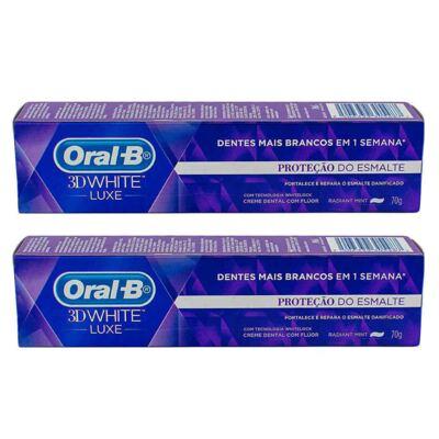 Imagem 2 do produto Kit Oral-B 3D White Creme Dental Luxe Proteção do Esmalte 70g 2 Unidades + Fio Dental Radiant Mint Haste Flexível 75 Unidades