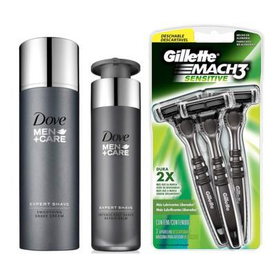 Imagem 1 do produto Kit Dove Men Creme De Barbear + Pós Barba + Aparelho De Barbear Gillette Sensitive 3 Unidades