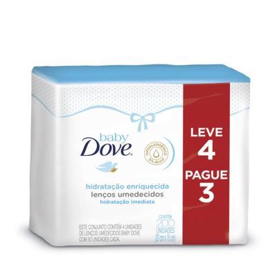 Imagem 1 do produto Kit Toalhas Umedecidas Baby Dove - Hidratação Enriquecida | 200 unidades | Leve 4 Pague 3