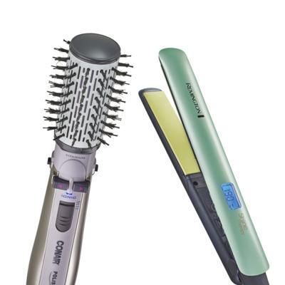 Imagem 1 do produto Escova Rotating Air Brush Titanium Conair + Prancha Shine Therapy 2x Remington - | 220v