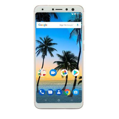 "Smartphone Multilaser MS80 4GB RAM + 64GB Tela 5,7"" HD+ Android 7.1 Qualcomm Dual Câmera 20MP+8MP Dourado - P9067 - P9067"