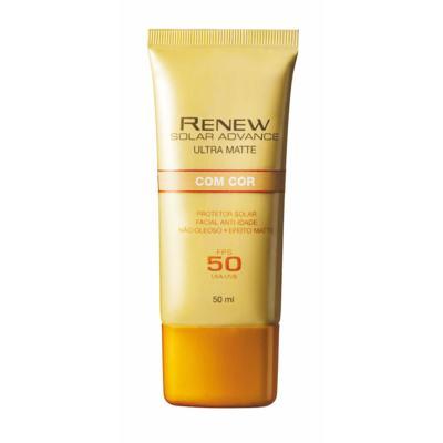 Imagem 1 do produto Renew Solar Advance Ultra Matte com Cor Protetor Solar Facial Anti-Idade FPS50 50 ml