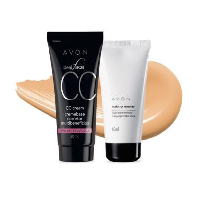 Imagem 1 do produto Kit CC Cream FPS50 e Removedor de maquiagem dos olhos - Bege Médio FPS50 e Removedor