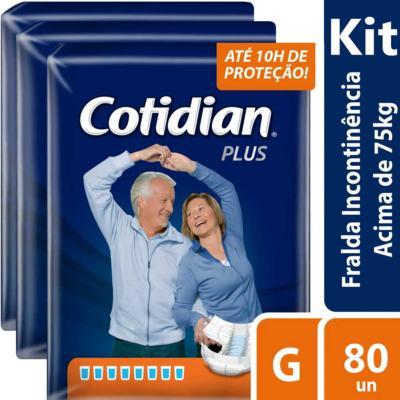 Imagem 2 do produto Kit Fralda Geriátrica Cotidian Plus Noturna G 80 unidades