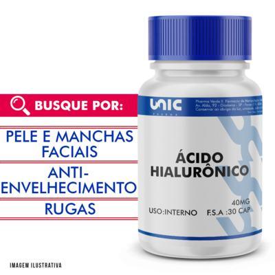Ácido hialurônico 40mg - 60 Cápsulas