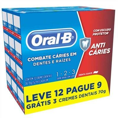 Kit Creme Dental Oral B 123 Anti Cáries Menta Suave Leve 12 Pague 9 com 70g cada
